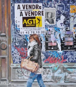 """A Vendre"" coloured pencil drawing, 2012. Art-covered vacant building in Paris."
