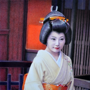 """Aesthete"" a portrait of Mamechiho-san. The photo for this was taken on the second day of Mamechiho-san becoming a Geiko."