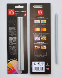 Front and rear of the packet which the Caran d'Ache blender comes in.