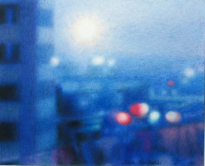 """Blue City"" (Osaka) coloured pencil drawing, 2006."