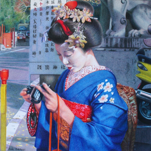 """Candid"" colour pencil drawing of cosplay maiko, 2006."
