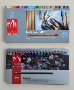 Caran d'Ache Luminance and Pablo coloured pencils.