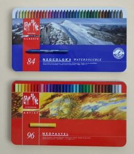 Caran d'Ache Neocolor II Watersoluble wax pastels and Neopastel sets.