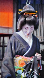 """Erikae"" drawing of Mamechiho-san. This was the day of Mamechiho-san's erikae, the day she became a Geiko."
