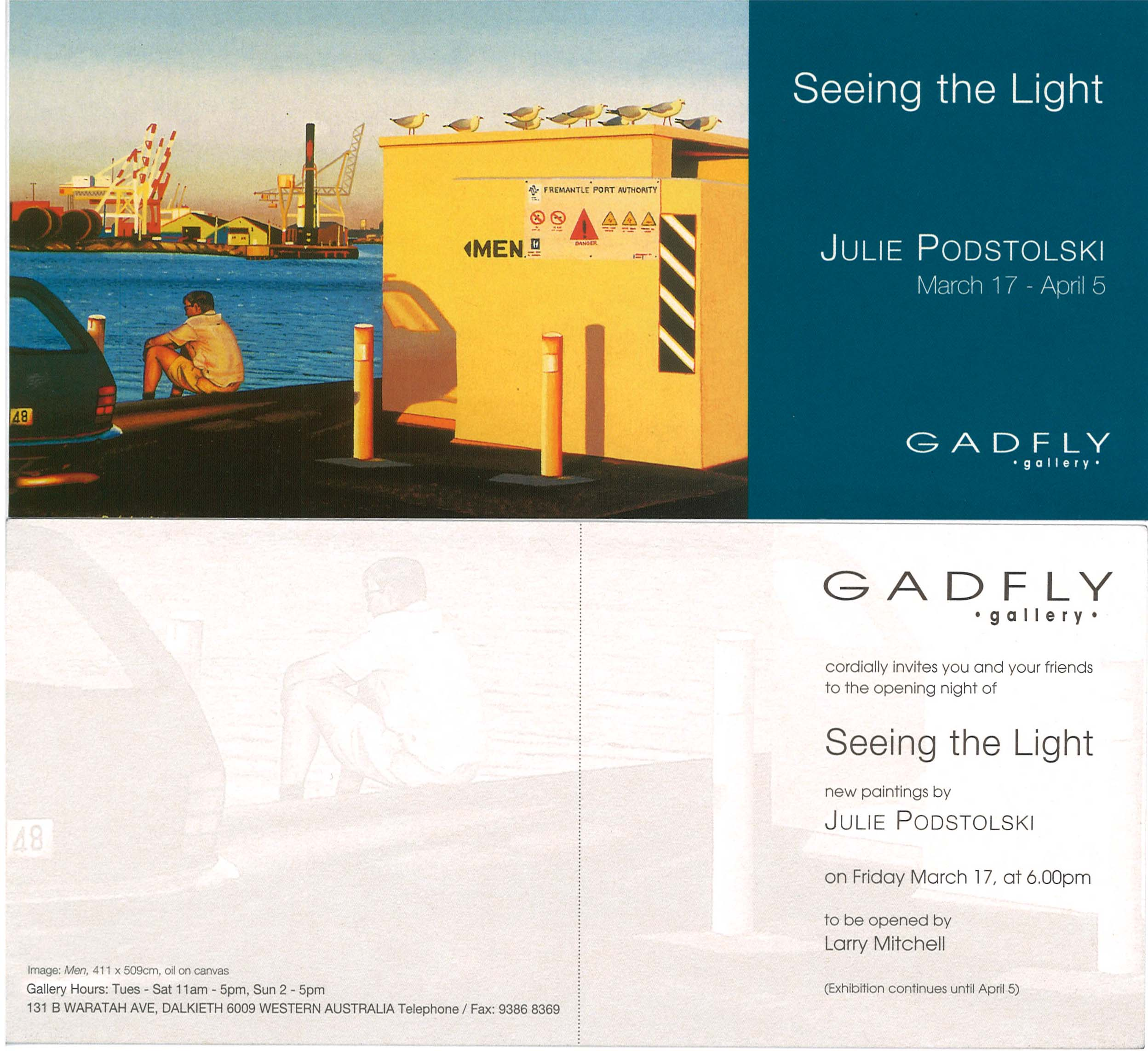 Archive of exhibition invitations julie podstolski abstract realism seeing the light an exhibition of oil paintings at gadfly gallery 1999 stopboris Choice Image