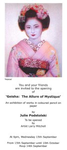 """Geisha: The Allure of Mystique"" at Kingfisher Gallery, West Perth, 2010."