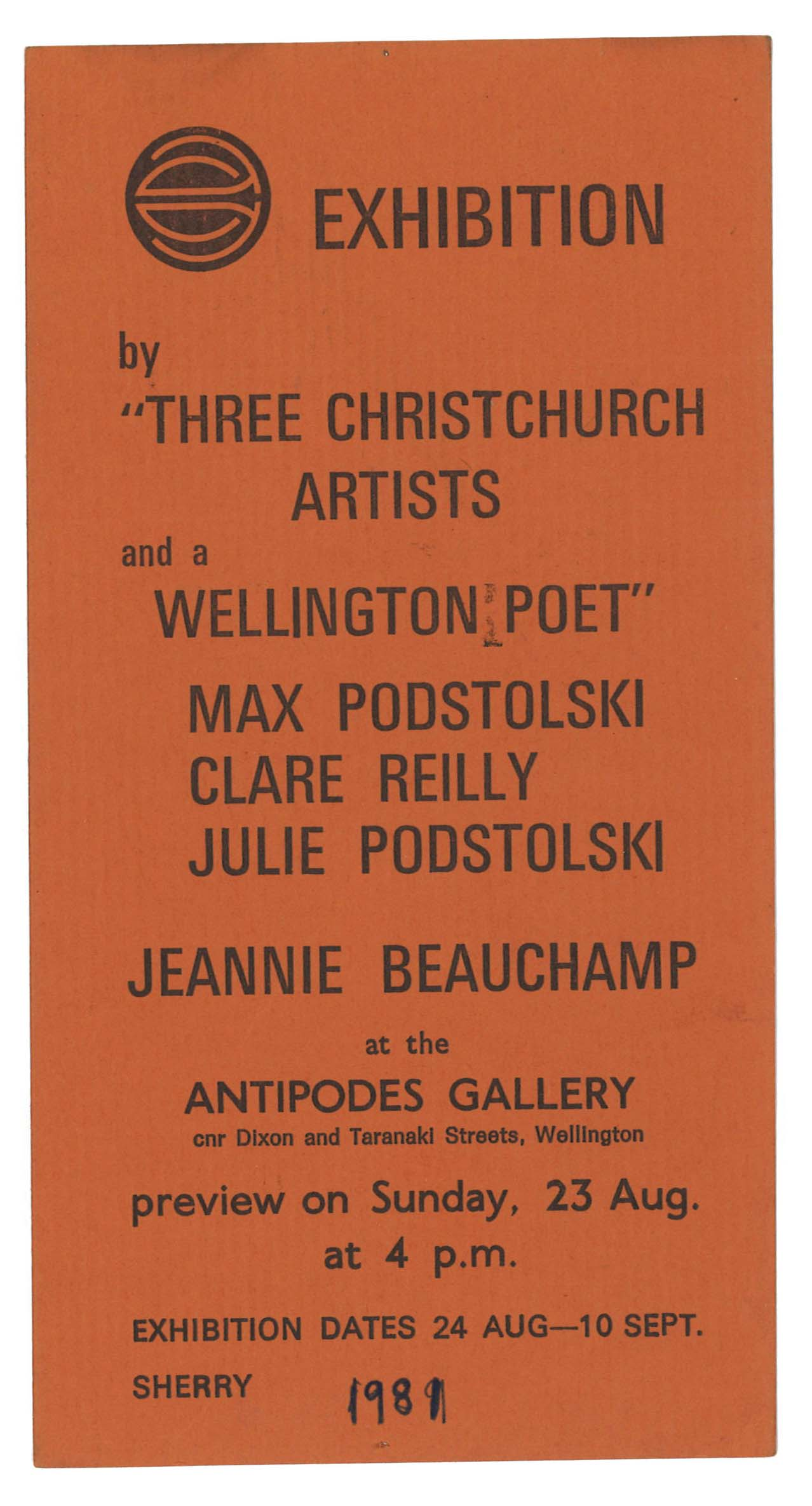 Archive of exhibition invitations julie podstolski abstract three christchurch artists and a wellington poet antipodes gallery wellington stopboris Choice Image