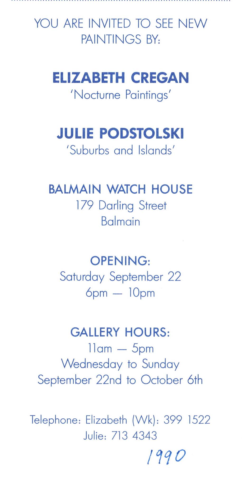 Archive of exhibition invitations julie podstolski abstract suburbs and islands oil paintings at balmain watch house sydney 1990 stopboris Choice Image