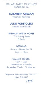 """Suburbs and Islands"" oil paintings at Balmain Watch House, Sydney, 1990."