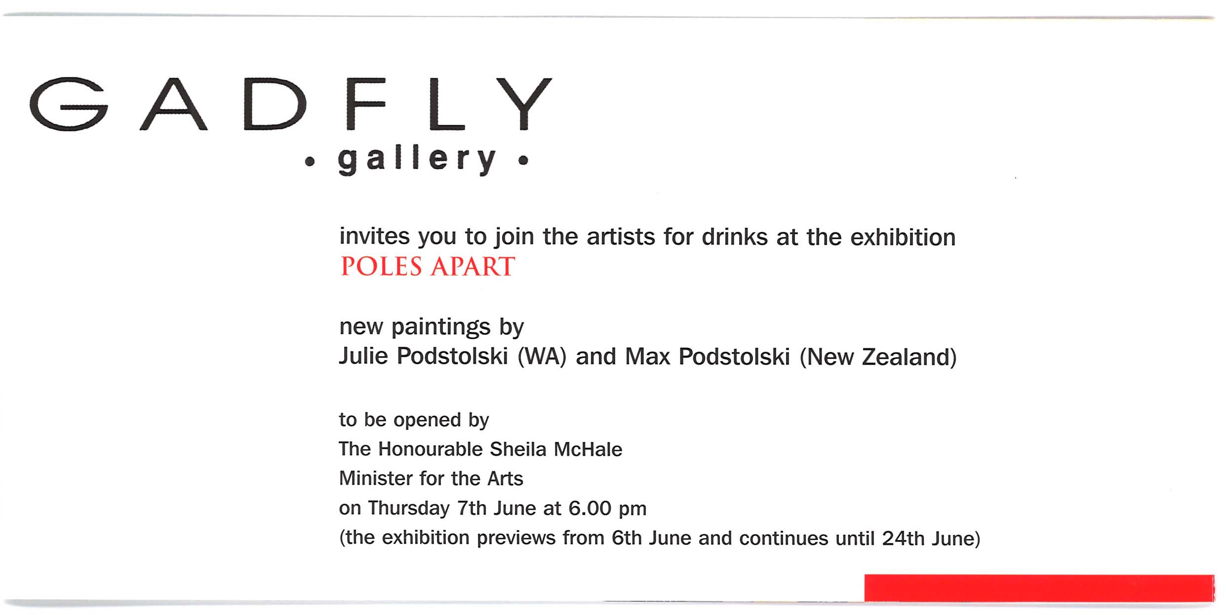 Archive of exhibition invitations julie podstolski abstract realism inside page of poles apart invitation stopboris Choice Image