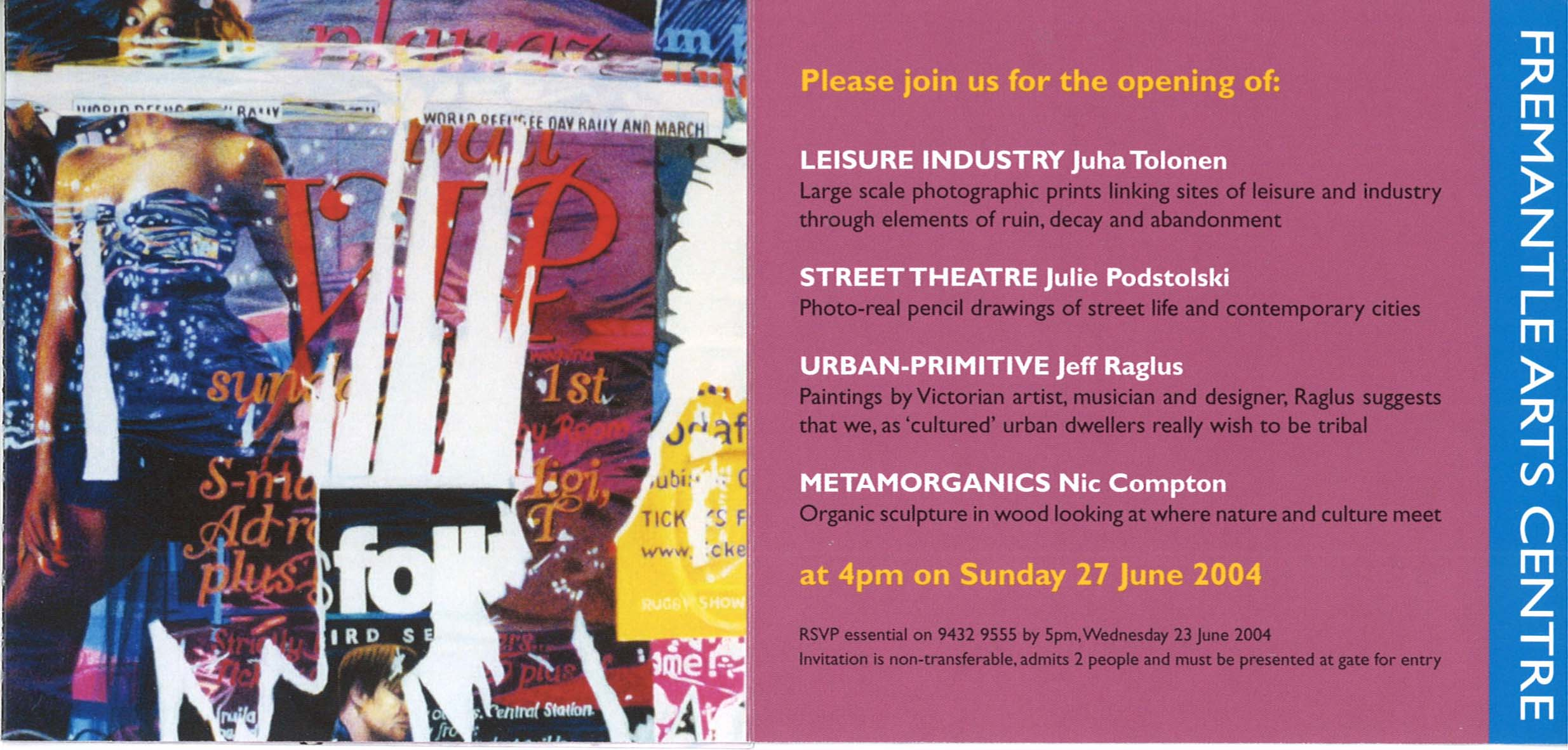 Archive of exhibition invitations julie podstolski abstract realism street theatre at fremantle arts centre 2004 stopboris Choice Image