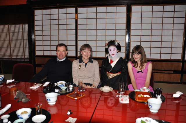 A joyous event in Japan.  Matthew, Julie, Koaki-san and Lucy at Ichiriki Teahouse in Kyoto.  Ah - the wonders of travel!