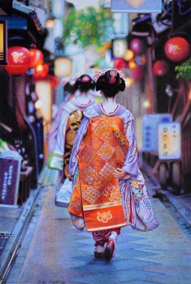 """Spirited Away"", Pontocho maiko leaving the theatre after their dance performance. Photograph by Onihide, drawing by me."