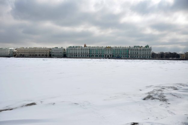 The Hermitage from across the frozen river. Saint-Petersburg, 2nd April, 2013.