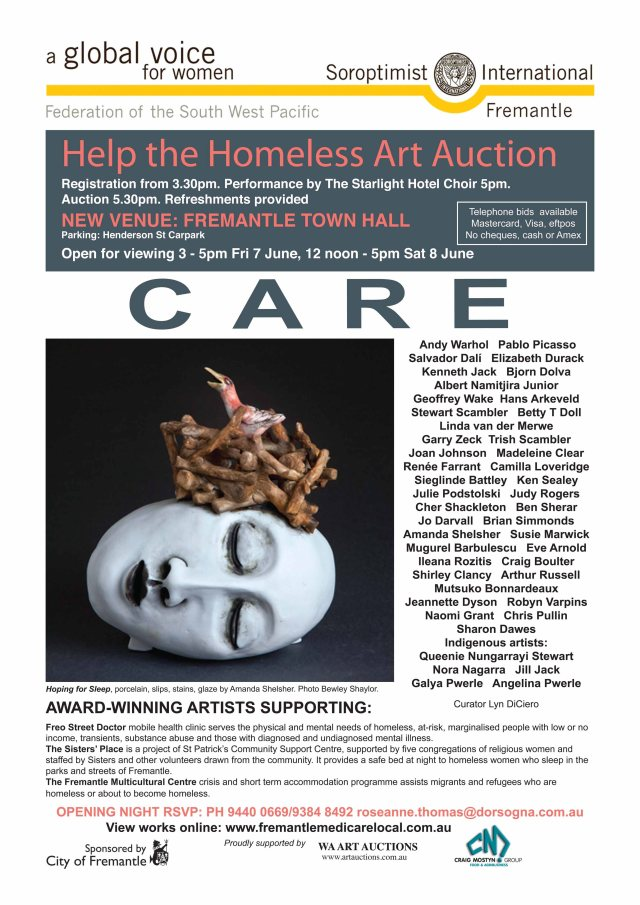 Official flyer for Help the Homeless Art Auction
