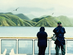 """Tourists Southbound"" an oil painting showing a view of the Wellington hills  from the Interisland ferry which crosses the Cook Strait."
