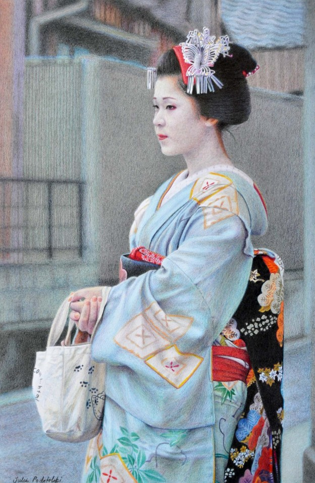 """Waiting"" a portrait of Satohana in Kamishichiken."