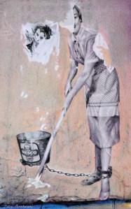 """""""Aberration"""" 250 x 400 mm, 2013. Coloured pencil drawing. Street art in Saint Germain des Près."""
