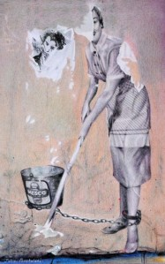 "From my drawing ""Aberration"" you can see that the chain from the bucket is shackled to the paste-up lady. Whereas in ""Tableau"" it looks like it might be attached to the dog."