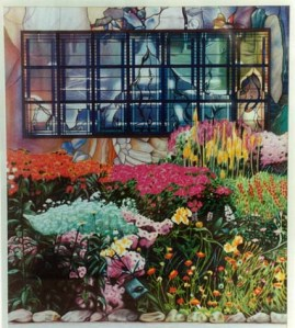 """Herbacious Border"" 1995. Partly from my own photo of Christchurch Botanic Gardens' herbacious border and partly magazine cut-up collage."