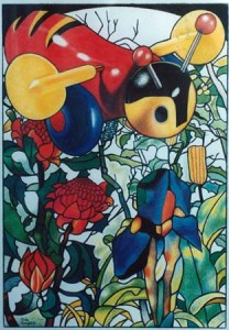"""""""Lucy's Buzzy Bee"""" 1994, my first coloured pencil drawing."""