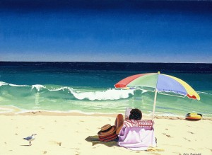 """""""Wish You Were Here"""" another old work, from around 1999 or 2000 portraying life on a typical Perth beach."""