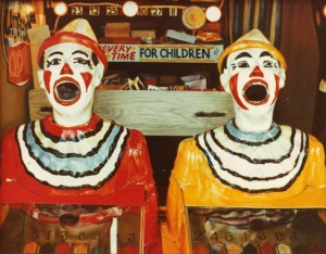"""Laughing Clowns"" oil on canvas, 1980.  36 x 48 inches or thereabouts."