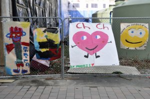 Children's paintings opposite the Central Library.