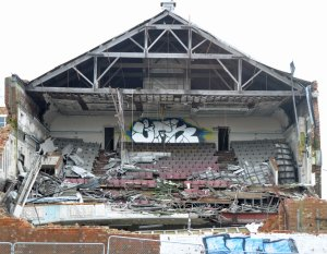 Theatre collapse - front view.