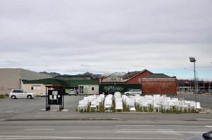 White chairs - a memorial to the people who died on 22nd February; one chair for each person.