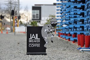 Jail Breaker Coffee in the blue wooden pallete area.