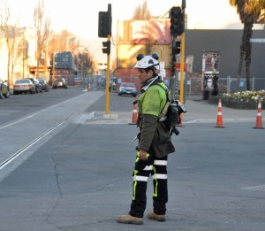 'High vis' man ready to knock off work.
