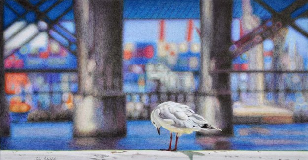 """On the Waterfront"" Coloured pencil drawing. 275 x 525 mm. October 2013."