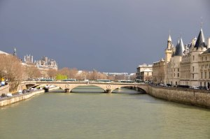 Thundery skies over the Seine, April 2013.