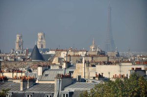 View with Eiffel Tower and Saint Sulpice from Institut du Monde Arabe.