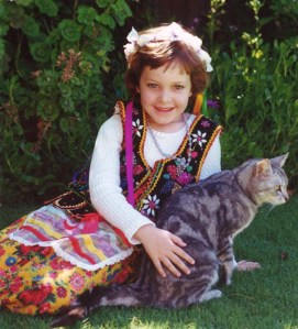 2000. Lucy wearing my old Polish costume from 1970. Saphie often turned up for photo sessions.