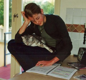 2001. Emily studying her music - with cat.