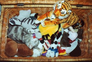 Lucy's toybox full of what we called 'the soft toys'. Can you spot the breathing soft toy?
