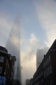 The Shard through the mists.