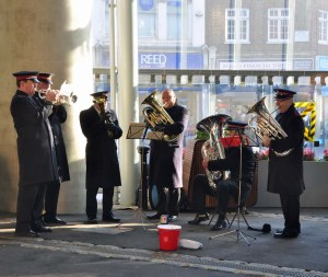 The Salvation Army band played mournful Christmas carols in Borough Market.