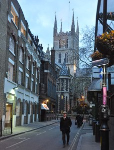 Southwark Cathedral and surrounds at dusk ie about 3 p.m.