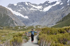 This is a photo of HAPPINESS.  Matthew is delighted to be walking in the Hooker Valley, as am I.