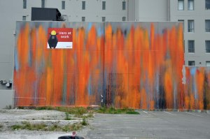 A striking abstract wall.