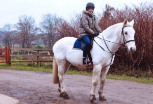 Lucy riding in the New Forest, England, in 2010.