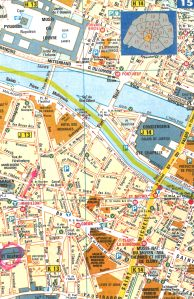 If ever you want to find this tiny street yourself, here it is on the map. I have coloured it with hot pink. I have circled Saint-Sulpice with pink as well.