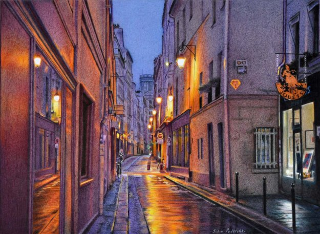 Rue de l'Echaudé New drawing. Coloured pencils on pescia paper. 410 x 560 mm.