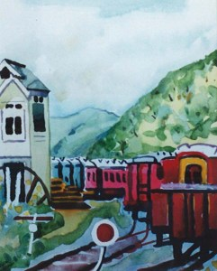 Paekakariki Sidelings watercolour 1999
