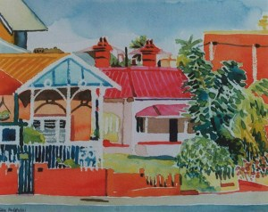 Fremantle-on-Canning watercolour 1999