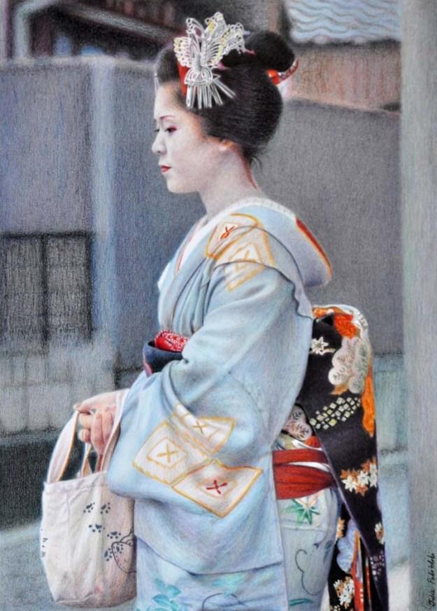 Blue Angel Portrait of Satohana of Kamishichiken, Kyoto. 345 x 485 mm. May, 2014.
