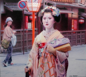 Two Girls in Gion Coloured pencil drawing, 2007.